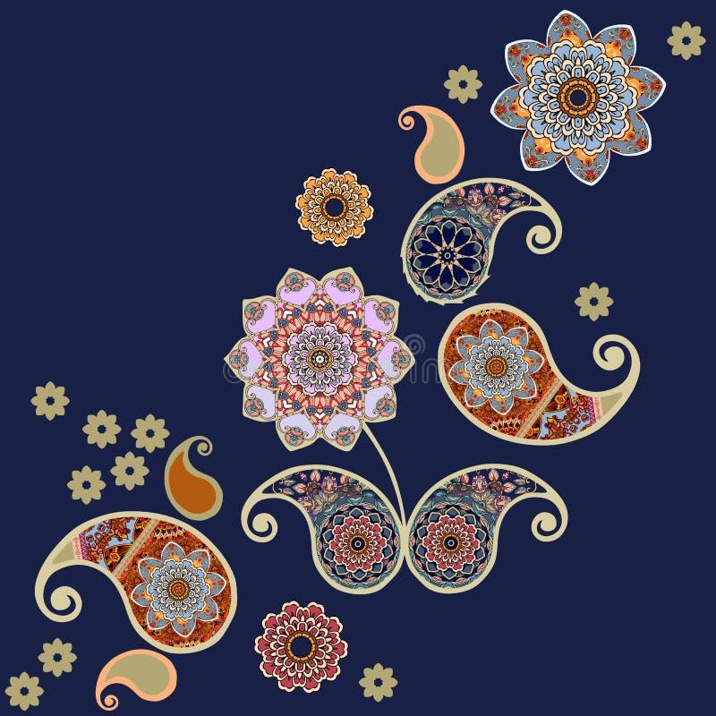 Modelo sin fin de Paisley Ejemplo hermoso del vector con las flores exhaustas de la mano y las hojas estilizadas ilustración del vector