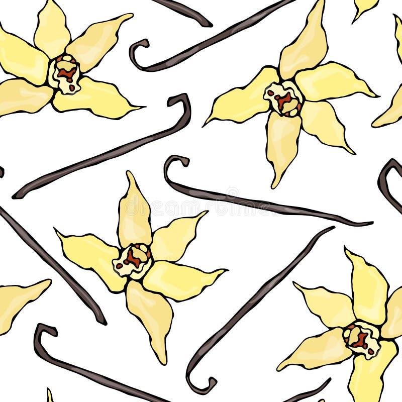 Modelo sin fin inconsútil del palillo y de la flor de la vainilla Vaina de la vainilla y fondo estacional del flor Especia y vino stock de ilustración