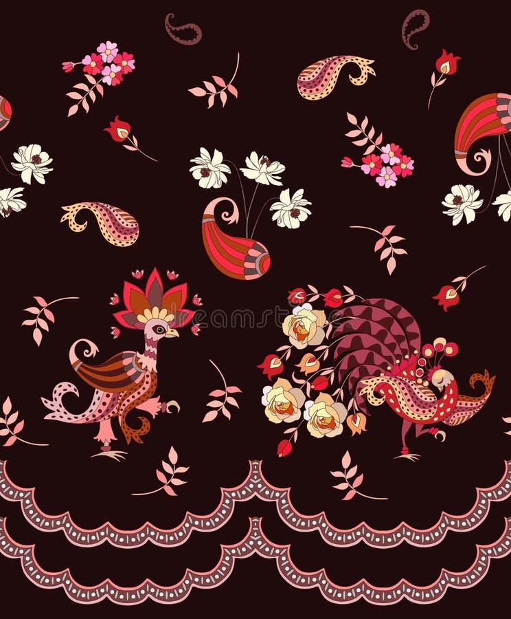 Modelo sin fin romántico con los pájaros, Paisley, las flores y las hojas mágicos en fondo marrón oscuro Motivos mexicanos, indio libre illustration