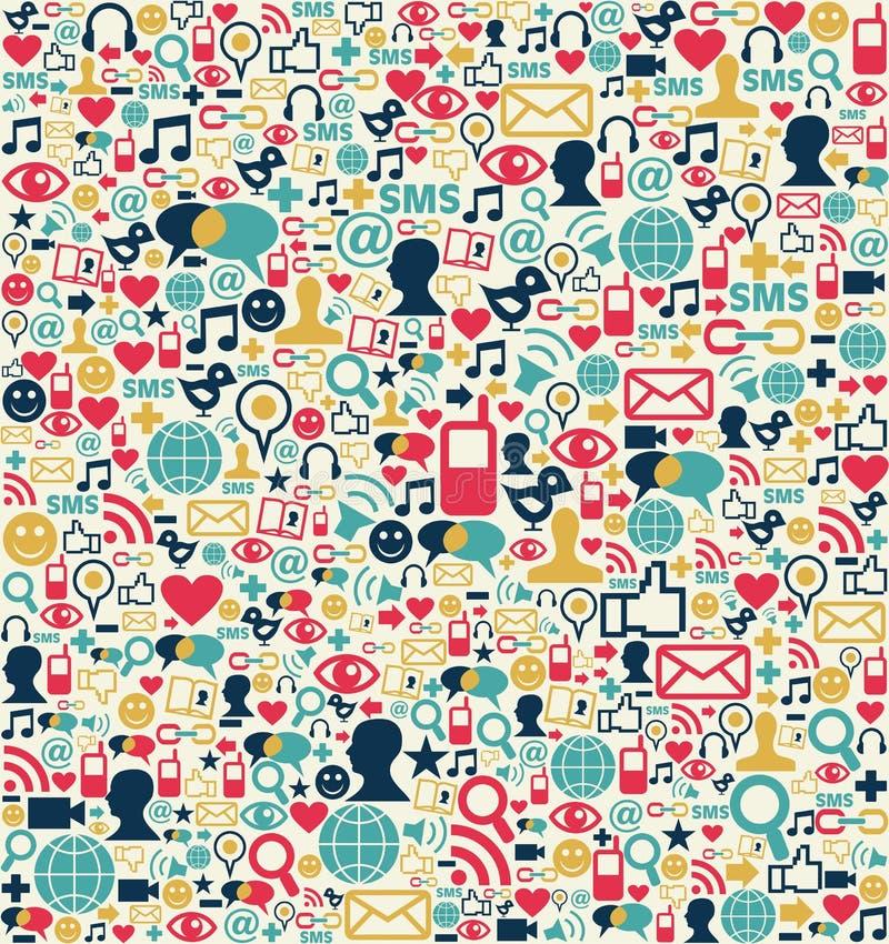 Modelo social de los iconos de la red de los media stock de ilustración