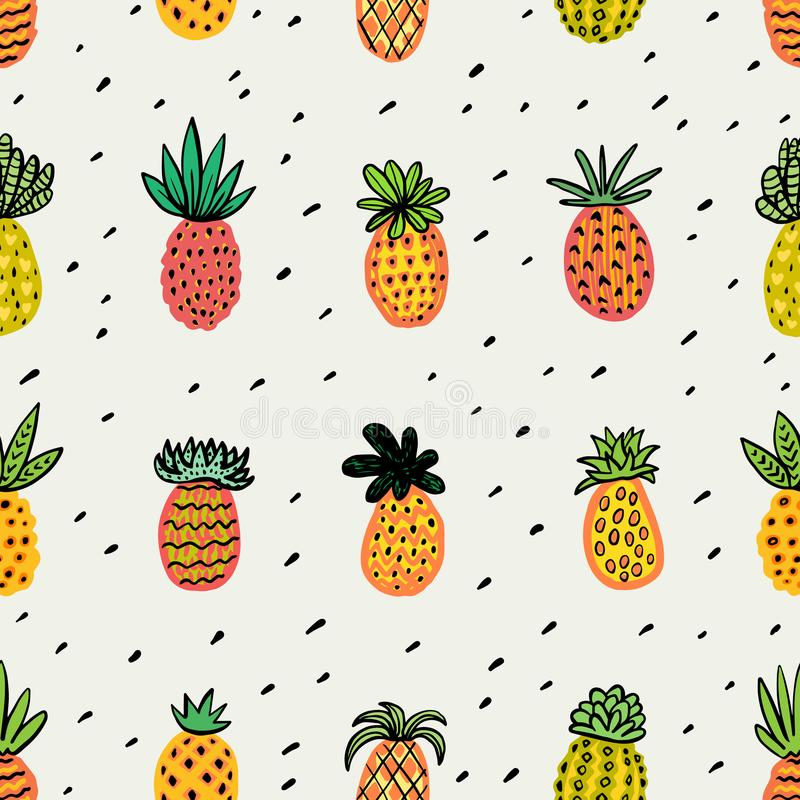 Modelo soleado inconsútil de la piña Piña decorativa con diversas texturas en colores calientes Fondo exótico de las frutas libre illustration