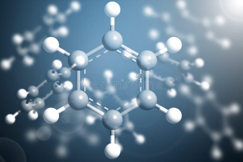 Modelo Structure do benzeno da molécula da ciência, conceito do negócio ilustração do vetor