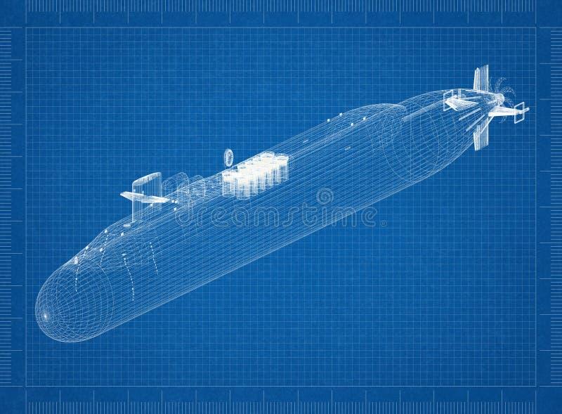 Modelo submarino del arquitecto fotos de archivo
