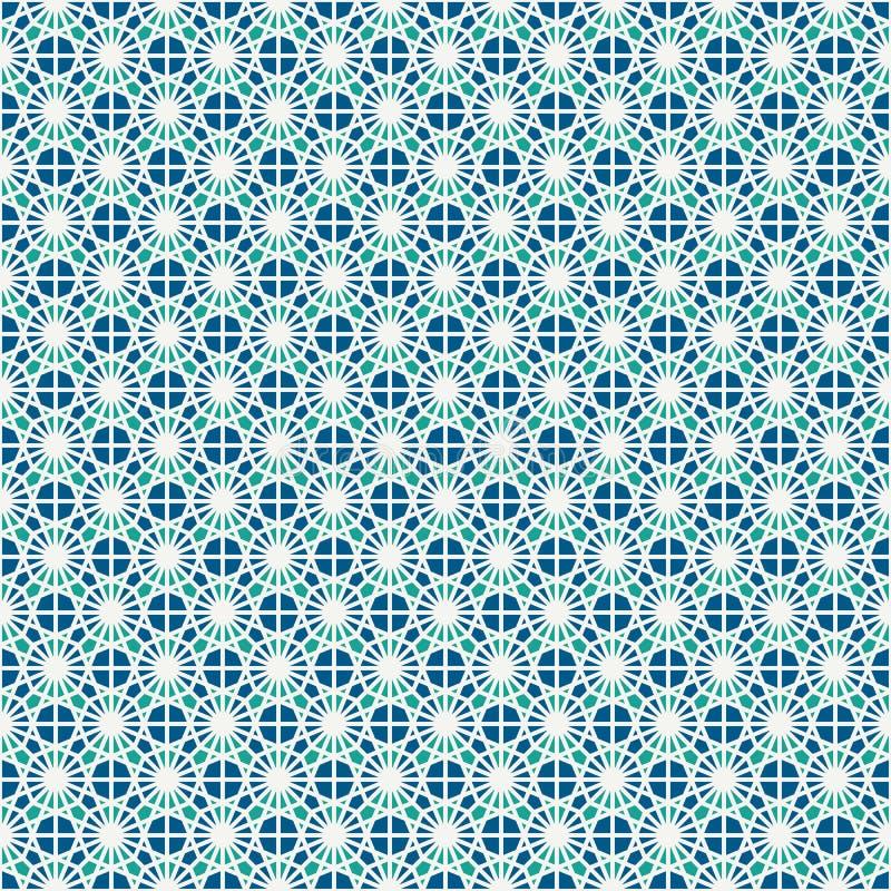 Modelo superficial inconsútil del mosaico del vitral Adorno marroquí de la baldosa cerámica Ornamento a cielo abierto Fondo del c stock de ilustración
