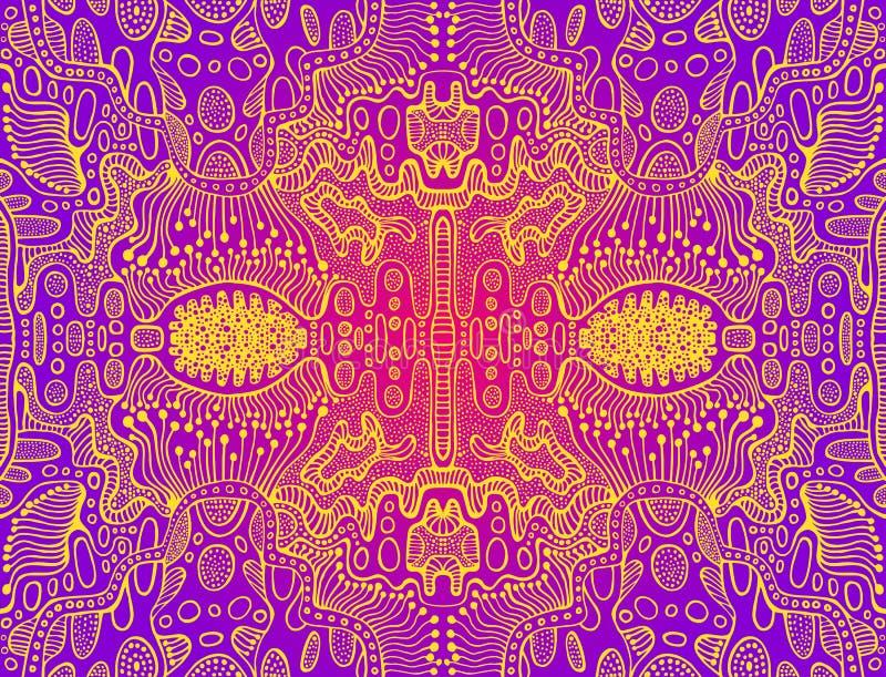 Modelo surrealista colorido psicod?lico del garabato Modelo del extracto del espejo, laberinto de la línea ornamentos Bohemio exh ilustración del vector