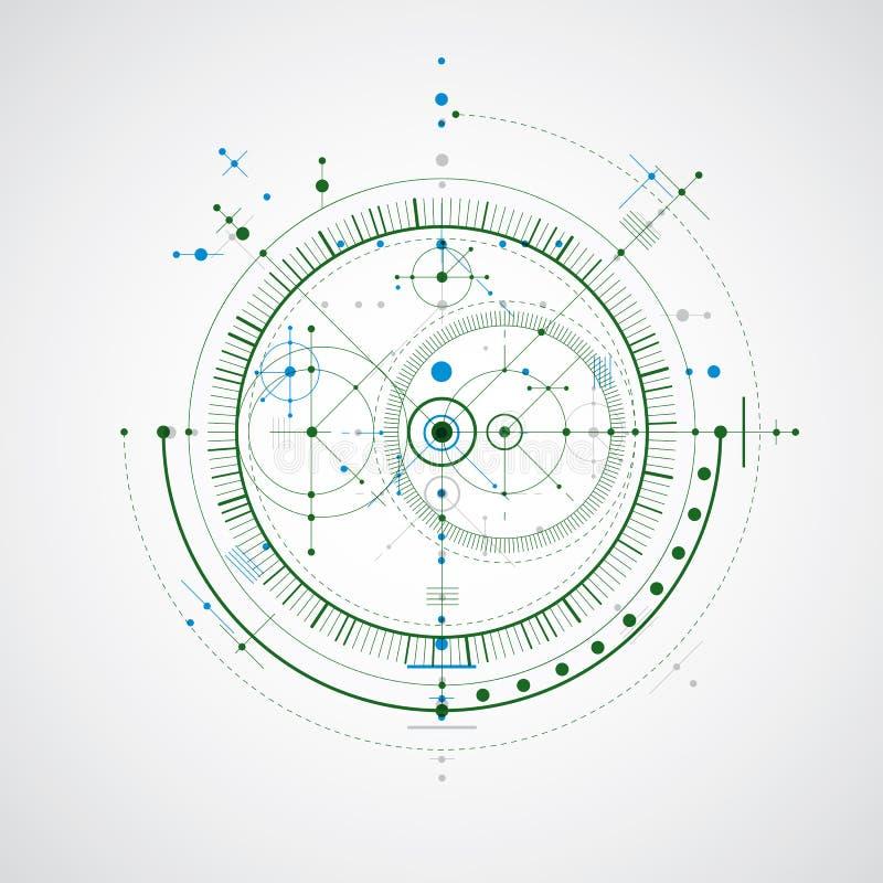 Modelo técnico, fondo digital del vector colorido con geo stock de ilustración