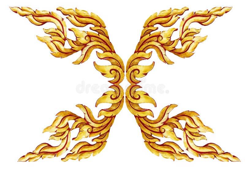 Modelo tailandés del estilo del oro de las puertas de madera antiguas viejas del marco aislado imagenes de archivo