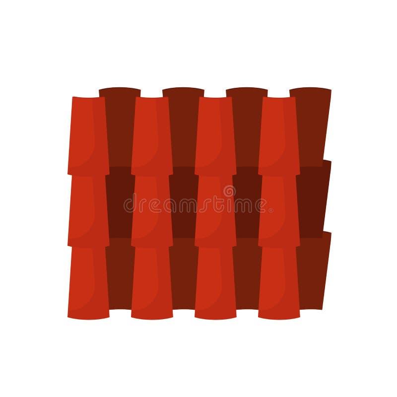 Modelo tejado del icono del vector de la casa de la cruz que construye la cubierta de cerámica Arcilla inconsútil de la fila de l ilustración del vector