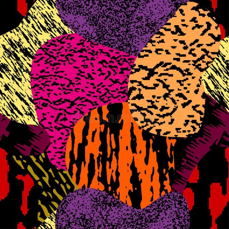 Modelo texturizado, colorido moderno incons?til del grunge Fondo con el ornamento gr?fico de las combinaciones multicoloras EPS10 libre illustration