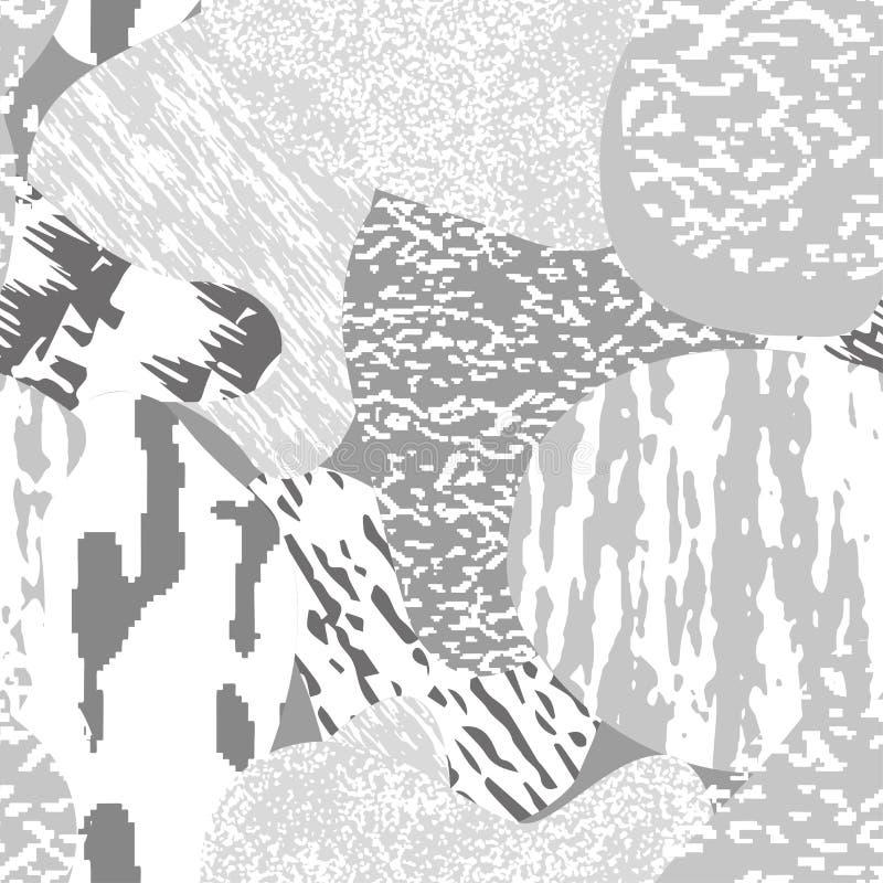 Modelo texturizado, monocrom?tico moderno incons?til del grunge Fondo con el ornamento gr?fico de las combinaciones multicoloras  libre illustration