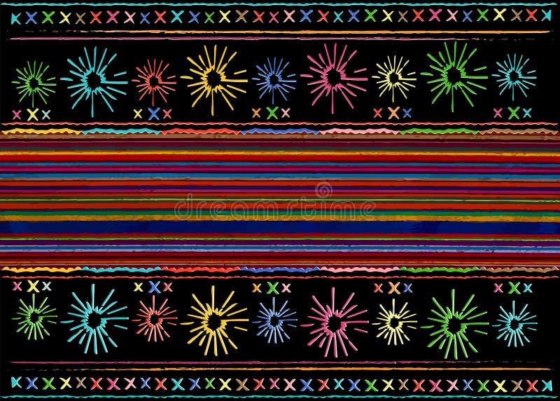 Modelo ?tnico del arte tribal ?tnico mexicano del bordado Fondo de repetici?n geom?trico de la manta del extracto popular mexican ilustración del vector