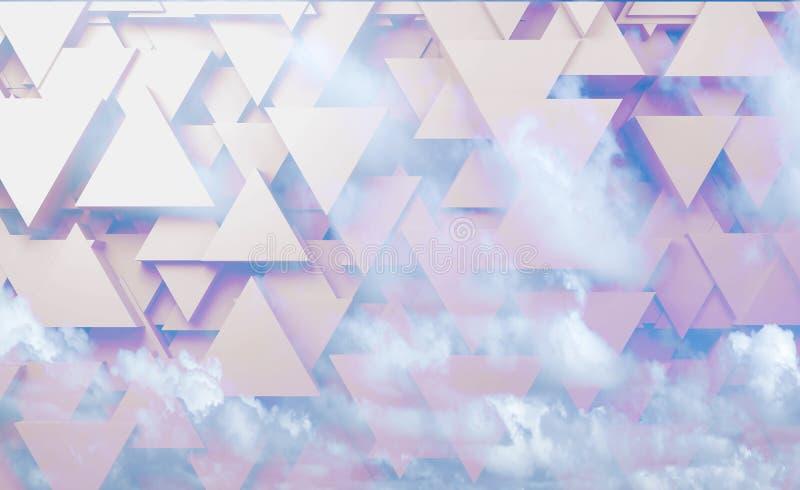 Modelo triangular sobre el cielo nublado, 3d de alta tecnología stock de ilustración