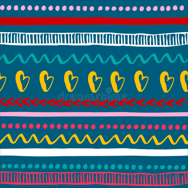 Modelo tribal colorido inconsútil Textura étnica dibujada mano de moda Ilustración del vector ilustración del vector