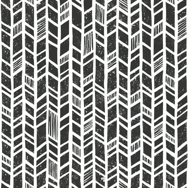 Modelo tribal dibujado mano del vector Fondo geométrico primitivo inconsútil con textura del grunge ilustración del vector