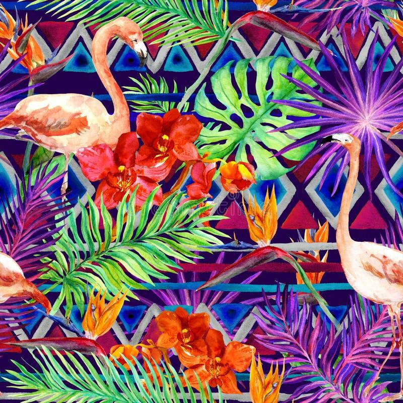Modelo tribal, hojas tropicales, pájaros del flamenco Fondo nativo repetido watercolor fotografía de archivo libre de regalías