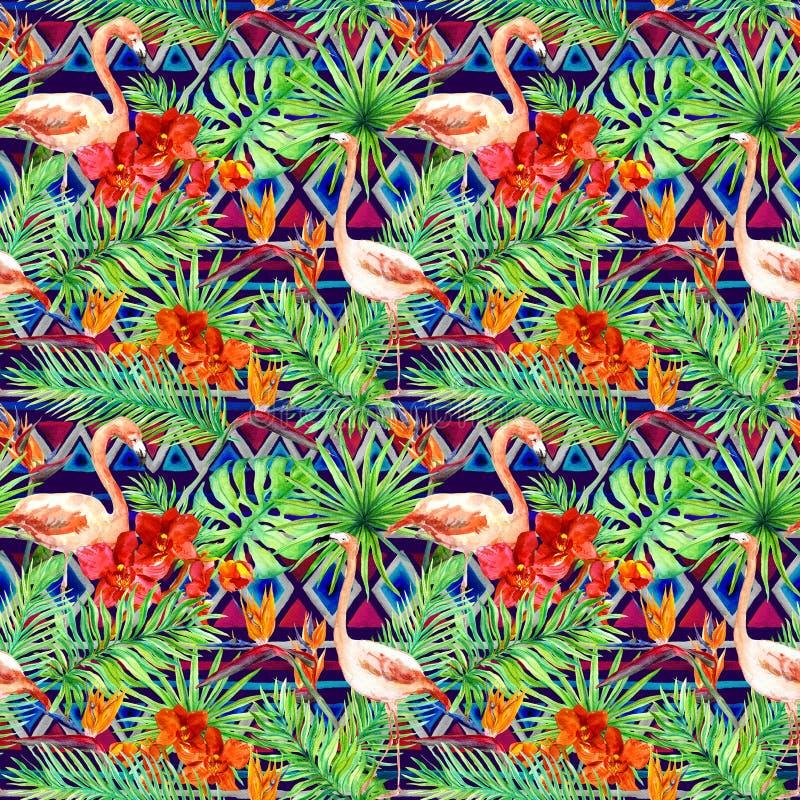Modelo tribal, hojas tropicales, pájaros del flamenco Origen étnico repetido watercolor imágenes de archivo libres de regalías