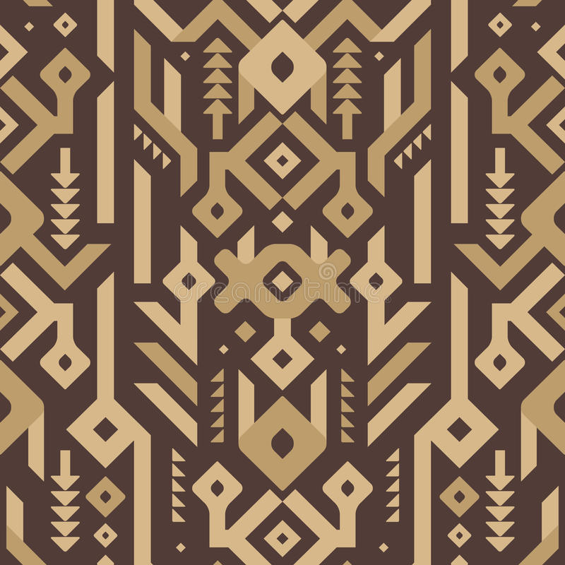 Modelo tribal inconsútil del vector en estilo de madera stock de ilustración