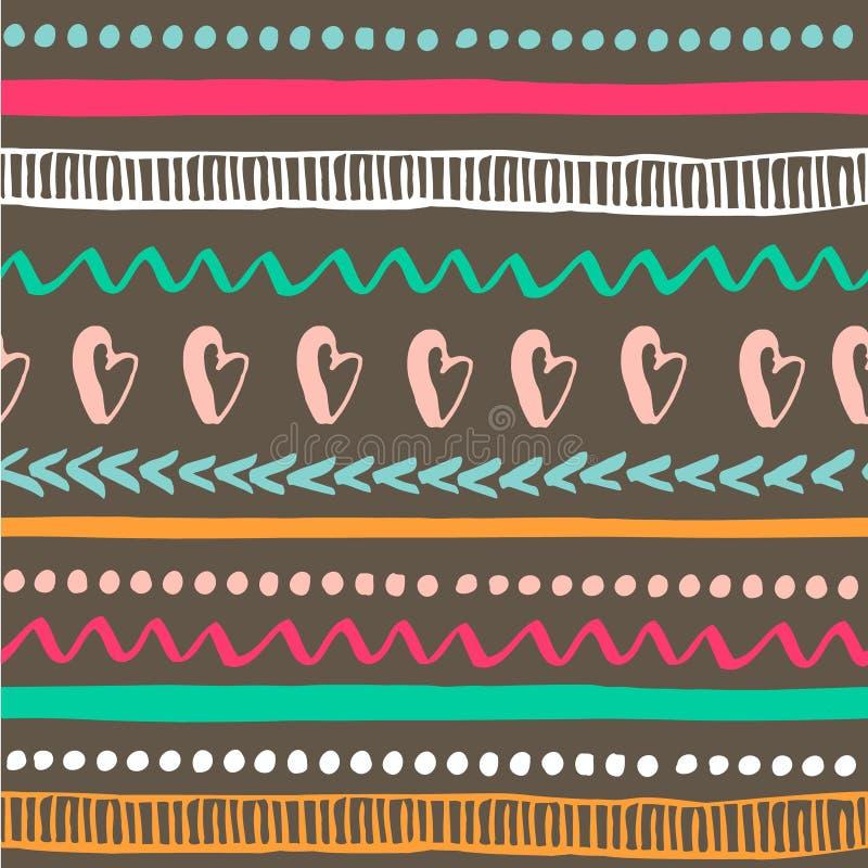 Modelo tribal inconsútil Textura dibujada mano colorida Origen étnico Ilustración del vector ilustración del vector