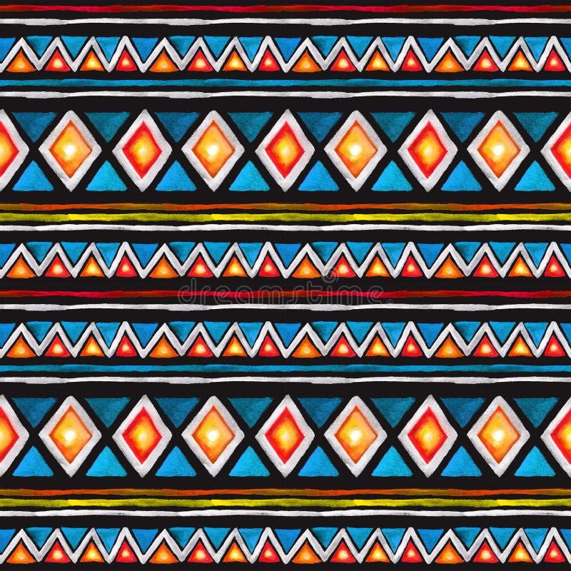 Modelo tribal Modelo inconsútil - ornamento tribal en estilo geométrico con los triángulos y las rayas watercolor fotografía de archivo