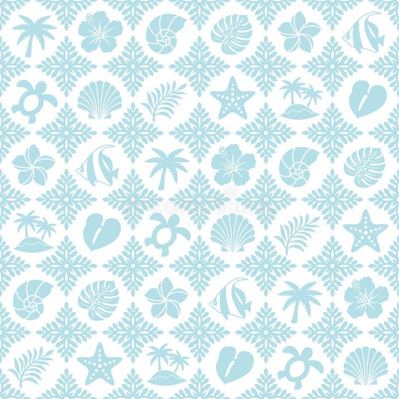 Modelo tropical azul con los iconos hawaianos del edred?n y del verano stock de ilustración