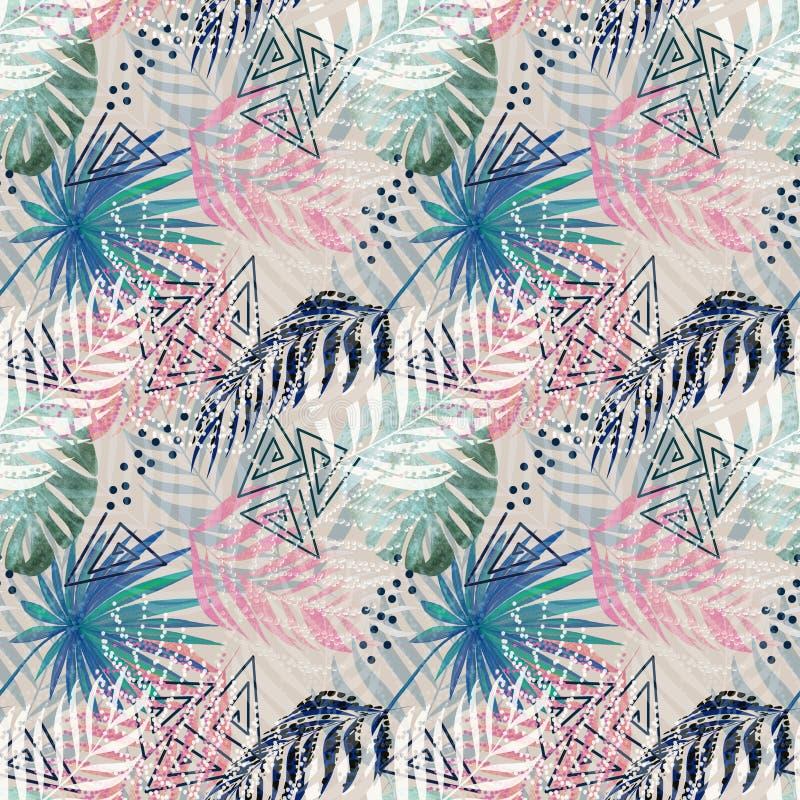 Modelo tropical colorido inconsútil con las hojas de palma en fondo ligero stock de ilustración