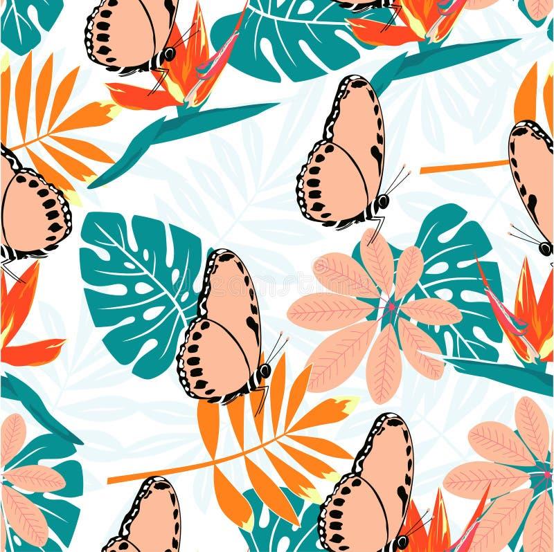 Modelo tropical con las mariposas libre illustration