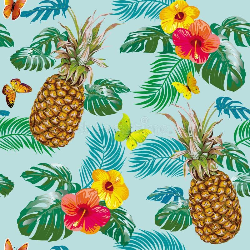 Modelo tropical con las piñas ilustración del vector