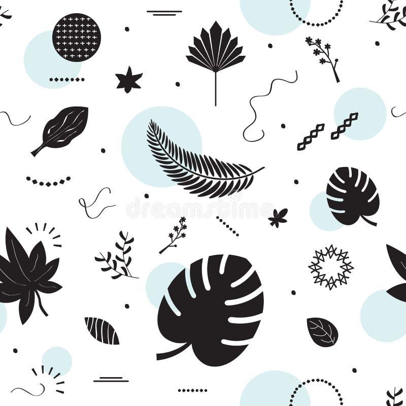 Modelo tropical de las hojas de la silueta negra en el fondo blanco ilustración del vector