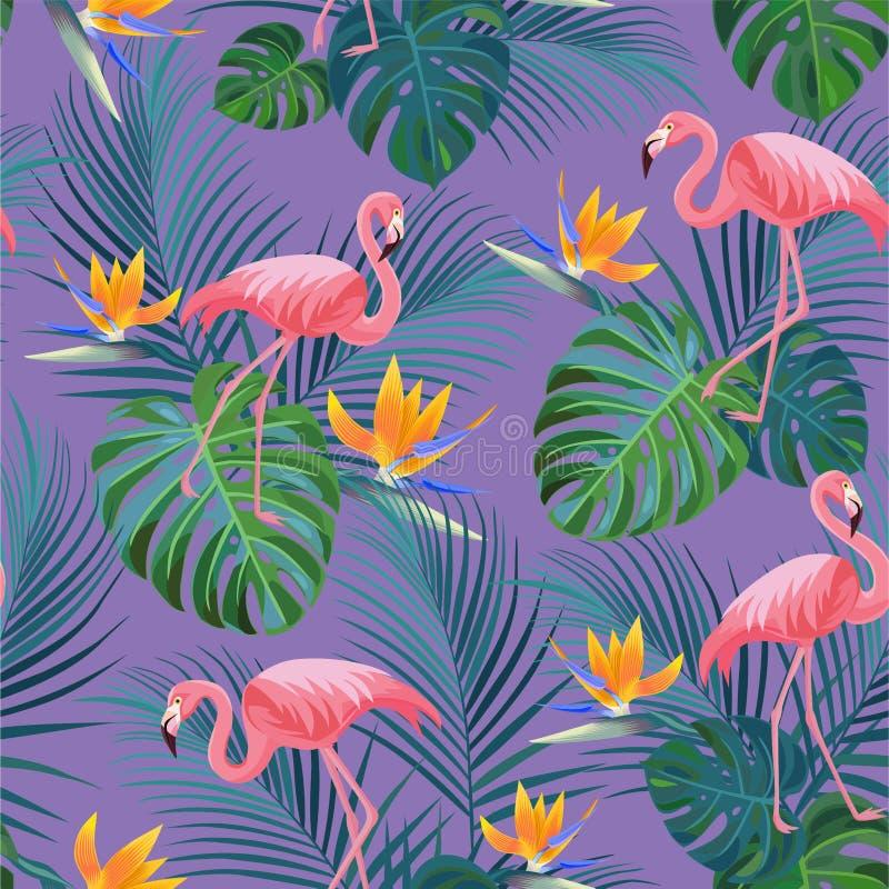 Modelo tropical de moda con los flamencos y las flores exóticas Textura incons?til del vector stock de ilustración