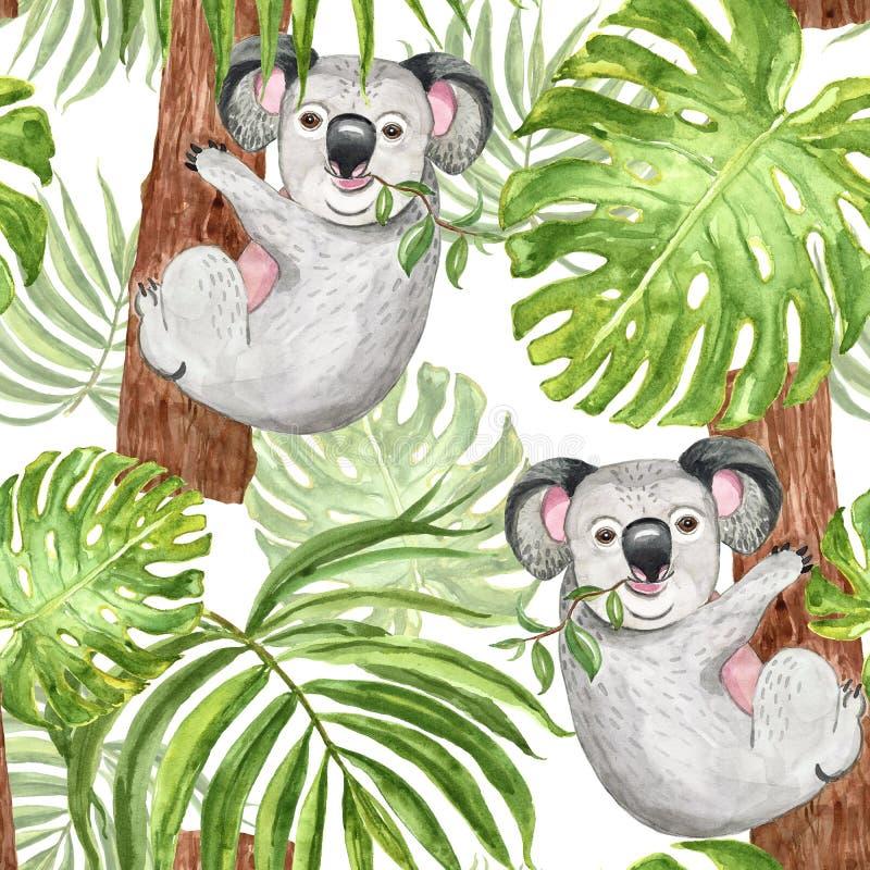Modelo tropical de moda de la acuarela con la koala, la palma y la hoja pintadas a mano del monstera en el fondo blanco Impresi?n libre illustration
