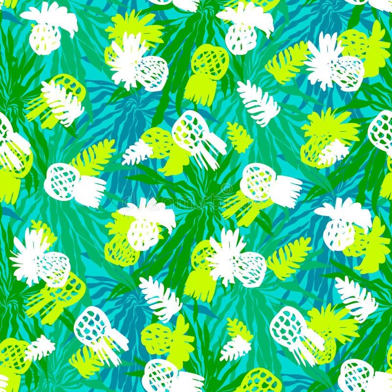 Modelo tropical del grunge con las frutas y las hojas stock de ilustración