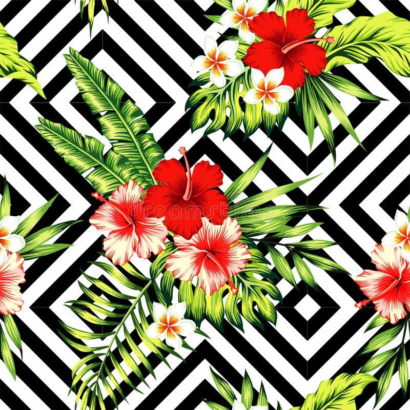 Modelo tropical del hibisco y de las hojas de palma ilustración del vector