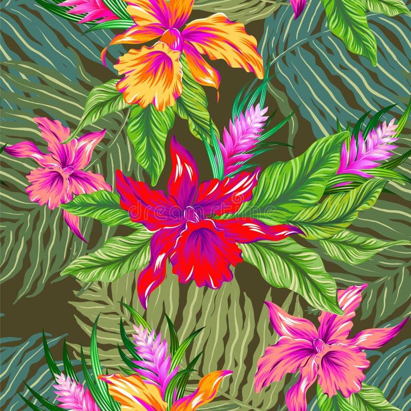 Modelo tropical del vector con las orquídeas ilustración del vector