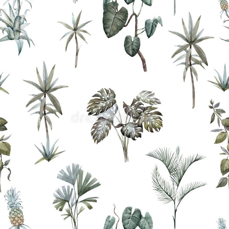 Modelo tropical floral de la acuarela imagen de archivo libre de regalías