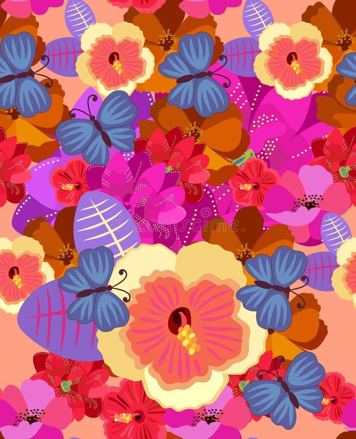 Modelo tropical floral inconsútil con las flores exóticas y las mariposas azules grandes Motivos hawaianos Diseño del verano del  ilustración del vector