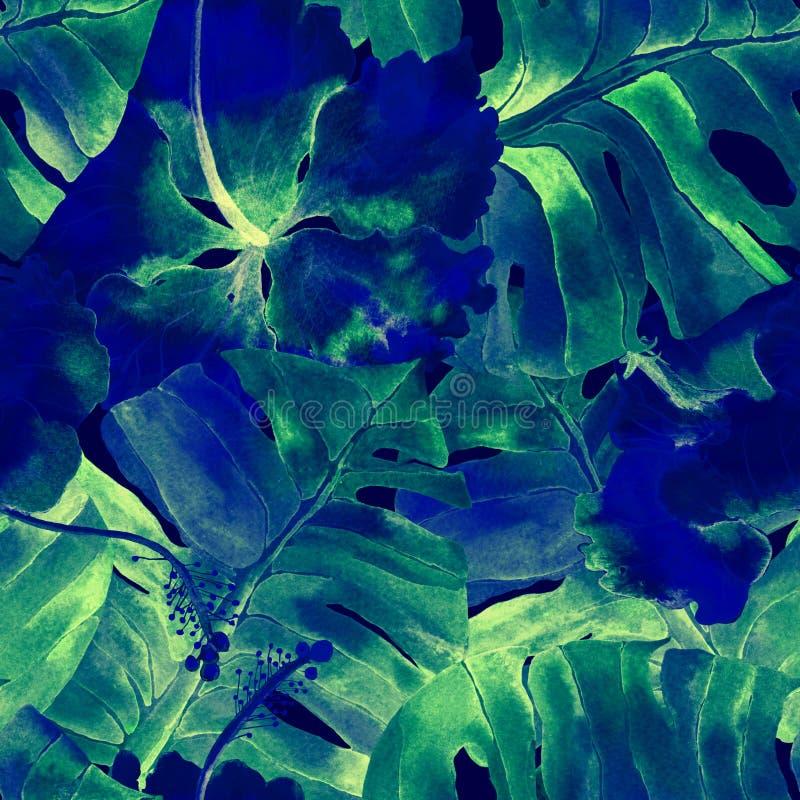 Modelo tropical Flores de la acuarela y hojas exóticas del monstera imagen de archivo