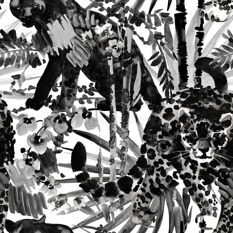 Modelo tropical fondo inconsútil de la naturaleza salvaje de la selva de la acuarela fotos de archivo libres de regalías