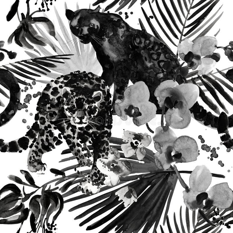 Modelo tropical fondo inconsútil de la naturaleza salvaje de la selva de la acuarela foto de archivo libre de regalías