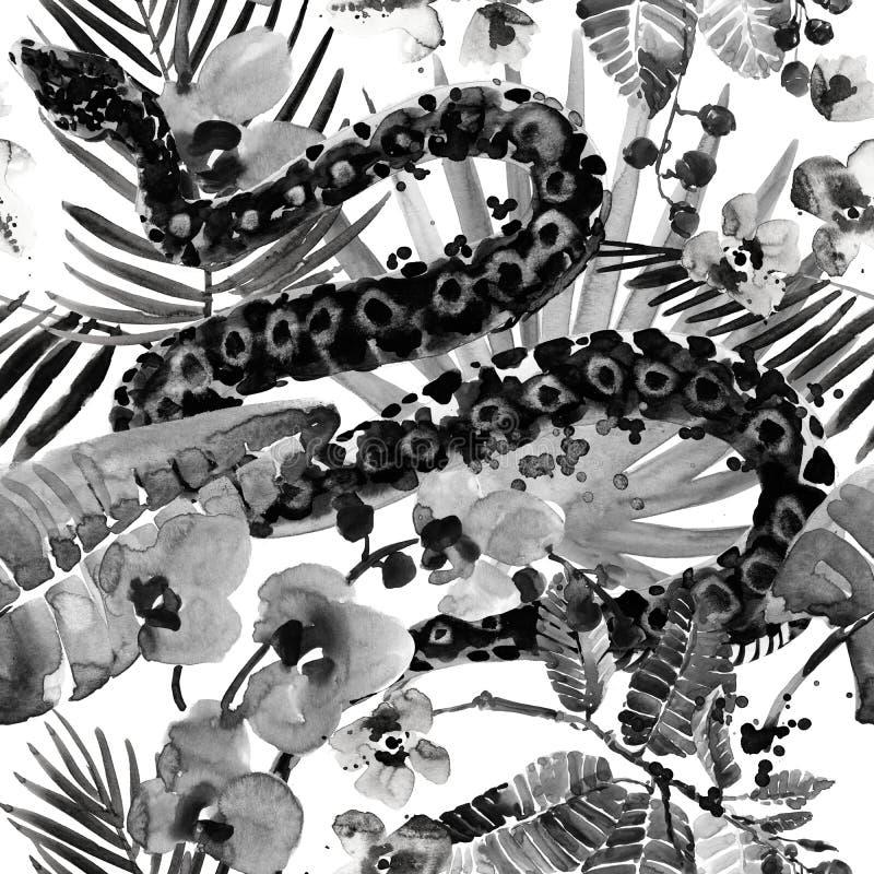 Modelo tropical fondo inconsútil de la naturaleza salvaje de la selva de la acuarela fotografía de archivo