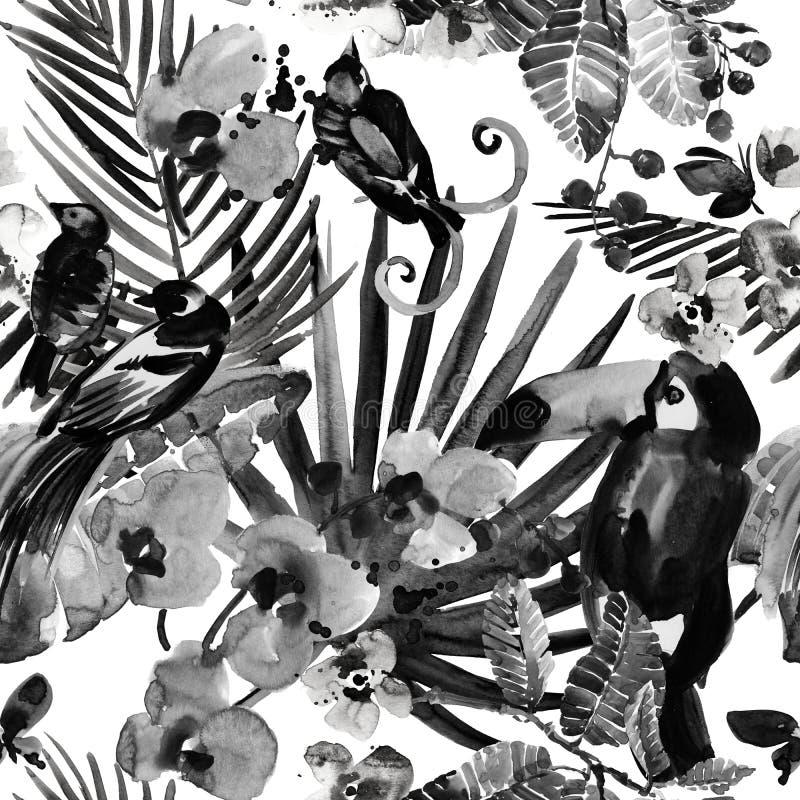Modelo tropical fondo inconsútil de la naturaleza salvaje de la selva de la acuarela imagen de archivo libre de regalías