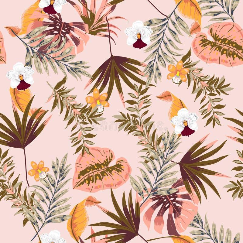 Modelo tropical hermoso inconsútil del vector de moda con las FO exóticas stock de ilustración