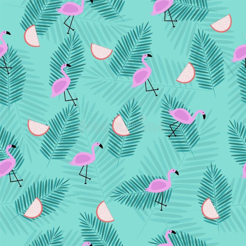 Modelo tropical inconsútil con el flamenco rosado con las ramas de la palma ilustración del vector