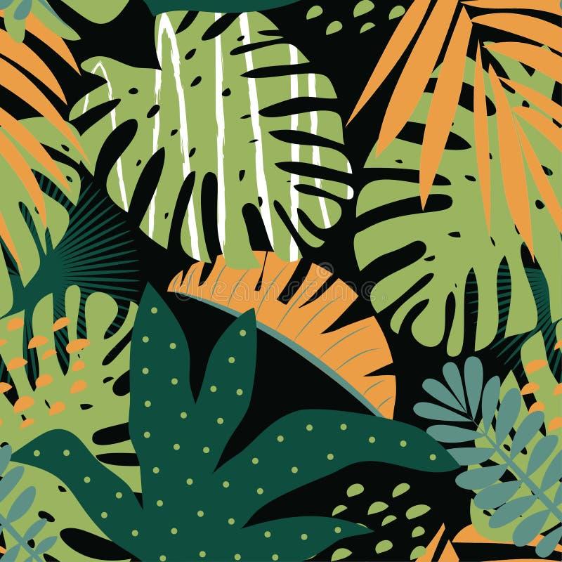 Modelo tropical inconsútil con las hojas coloridas en fondo oscuro Dise?o del vector Impresi?n plana de la selva Fondo floral stock de ilustración