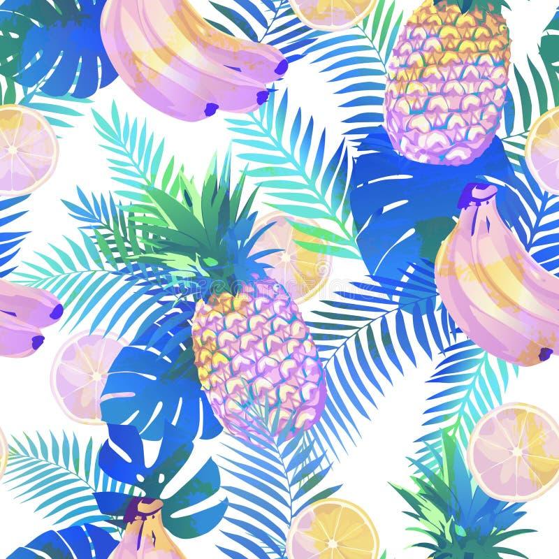 Modelo tropical inconsútil con las hojas de palma stock de ilustración