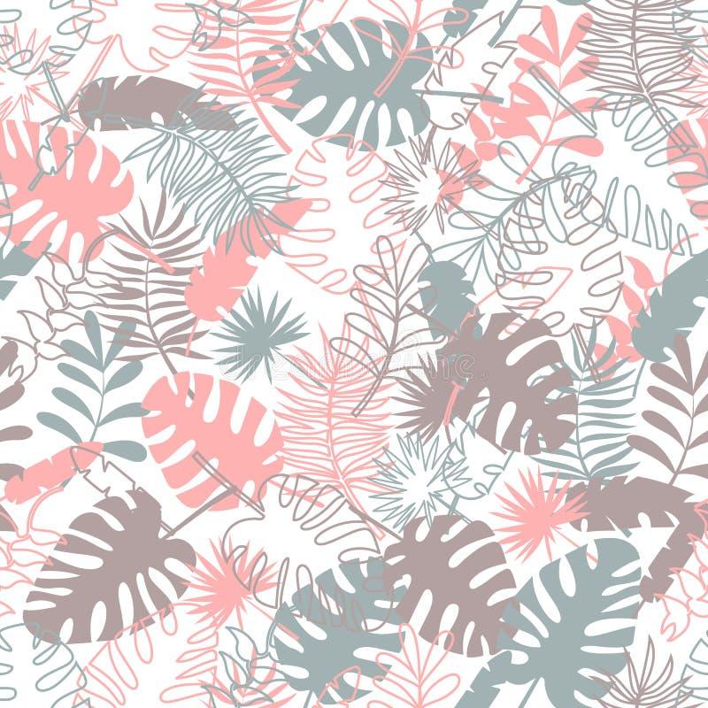Modelo tropical inconsútil con las hojas de palma Fondo colorido de la tela libre illustration