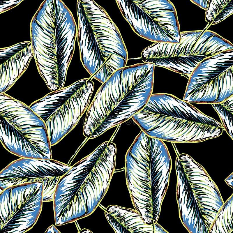 Modelo tropical inconsútil con las hojas del plátano libre illustration