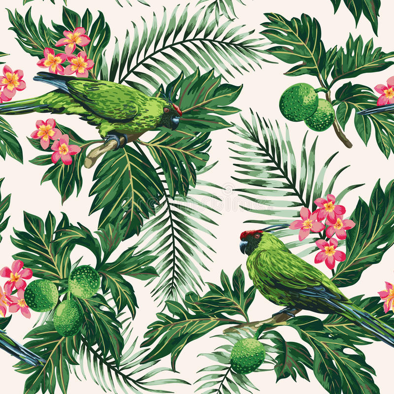 Modelo tropical inconsútil con las hojas, las flores y los loros stock de ilustración