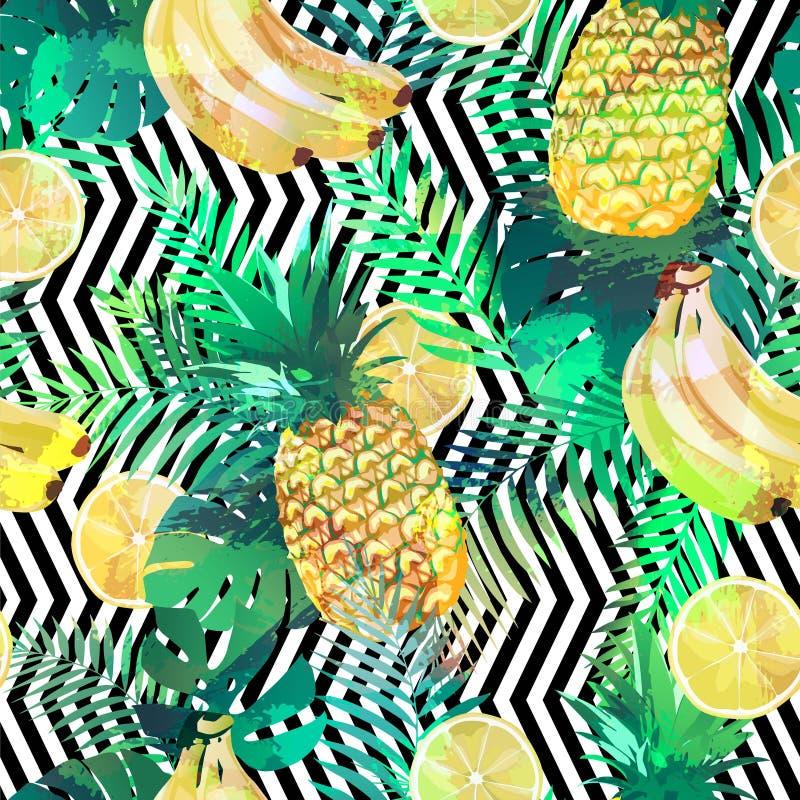 Modelo tropical inconsútil con los plátanos, las hojas de palma de los limones y las piñas Textura sin fin exótica del verano, pa ilustración del vector
