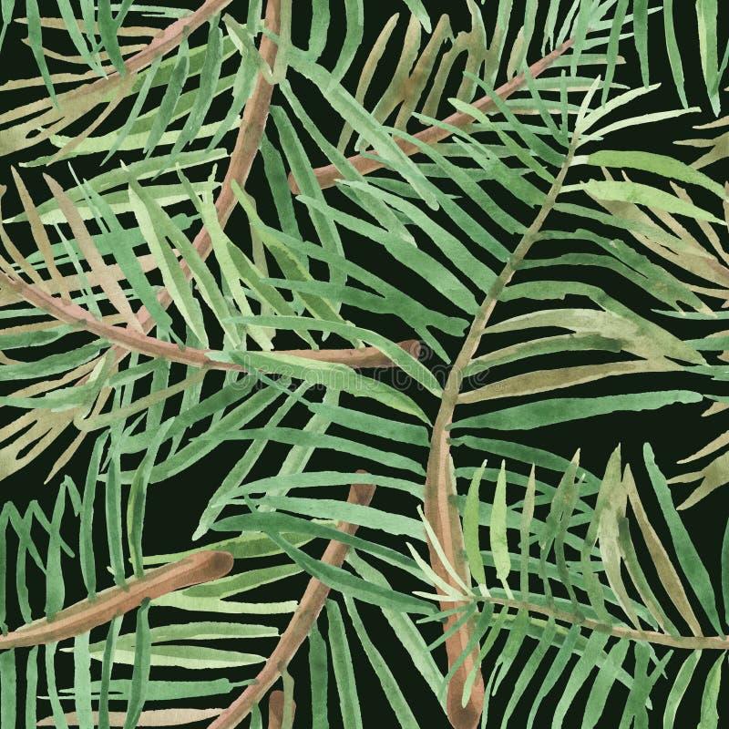 Modelo tropical inconsútil de la acuarela de hojas de palma en un fondo negro libre illustration