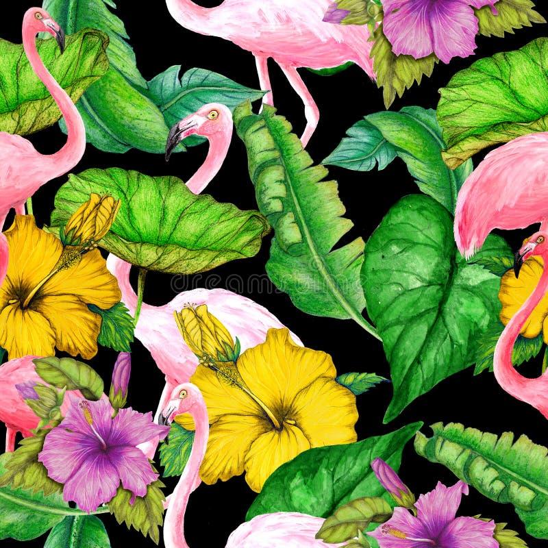 Modelo tropical inconsútil de las flores, de los flamencos y de las hojas de la acuarela libre illustration